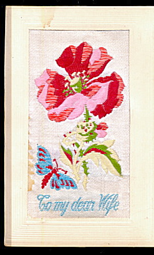 1908 Embroidered My Dear Wife Silk Postcard