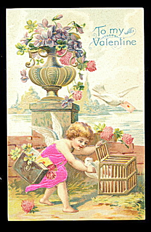 1907 Silk Clothing Cherubs Valentines Day Postcard