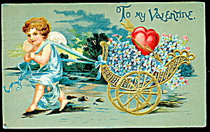 1906 Cherub With Hearts Valentines Day Postcard