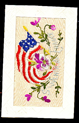 1908 Embroidered Silk Souvenir Of France Postcard