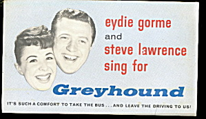 Steve Lawrence & Eydie Gorme Greyhound Bus Postcard