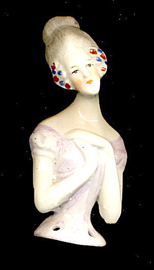 1920s Bisque/porcelain Japan Half Doll - Arms In