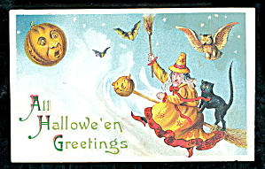 1907 Halloween Witches With Jol Moon,black Cat Postcard