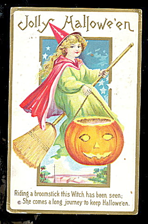 Witch With Jol Flying 1913 Halloween Postcard