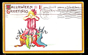 Girl Surrounded By Witches 1915 Halloween Postcard