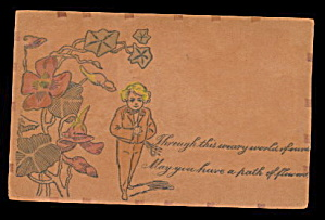 1906 Leather 'through This Weary World...' Postcard