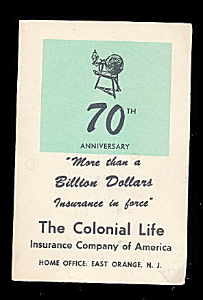 1950s Colonial Life Insurance Needle Book