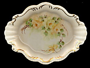 Gorgeous Yellow Roses Scalloped Porcelain Pin Tray
