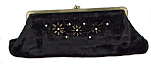 1940s Black Velvet Clutch Purse With Beads