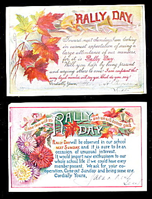 2 1912 Rally Day Sunday School Postcards