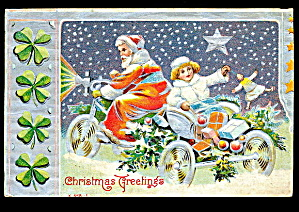 1907 Santa Claus With Girl On Bicycle Postcard