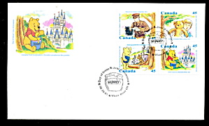 Disney Winnie The Pooh 4 Stamps First Day Cover Canada