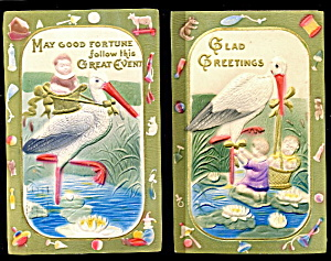 2 Embossed Stork - Baby Expecting 1907 Postcards