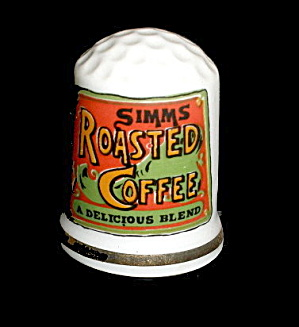 1980 Porcelain Thimble 'simms' Roasted Coffee