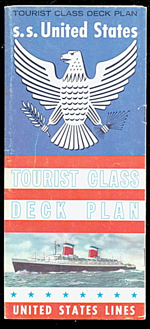 1960 S.s. United States Lines Cruise Ship Deck Plan
