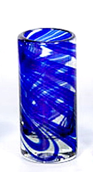"Lovely Vintage 5"" Blue Art Glass Cylinder Vase"