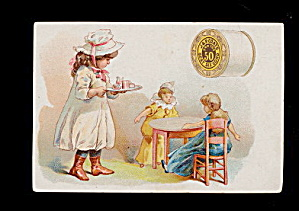 1885 J & P Coats Girl Feeding Her Dollies Trade Card
