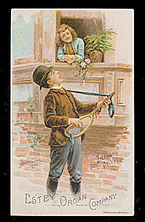 1880 Estey Organ Company Man Singing Trade Card