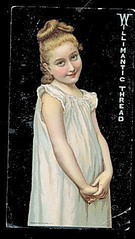 1880s Willimantic Thread Girl In Nightie Trade Card