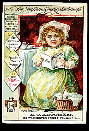 1885 Girl New Home Sewing Machine Trade Card