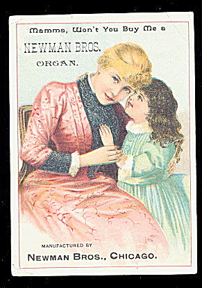 1880s Newman Bros Organ Trade Card