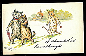 Louis Wain Shouldnt Have Thought 1906 Cats Postcard