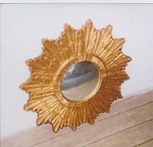 Continental Carved And Gold Painted Convex Mi