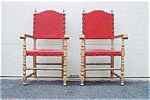 A Pair Of Gold Painted Armchairs.