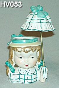 Little Umbrella Girl Head Vase - Very Rare