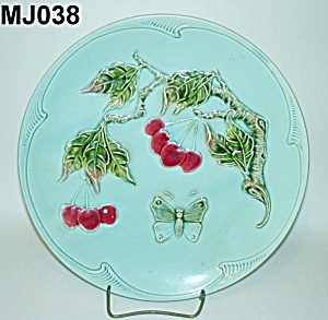 "11 1/4"" Majolica Butterfly & Cherries Plate"