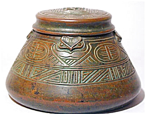 Tiffany Studios American Indian Inkwell