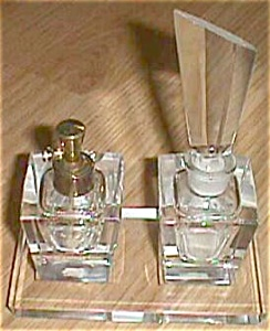 Art Deco Cut Crystal Ucagco 4 Piece Perfume Set