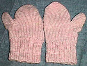 Vintage Pink Infant Or Doll Mittens