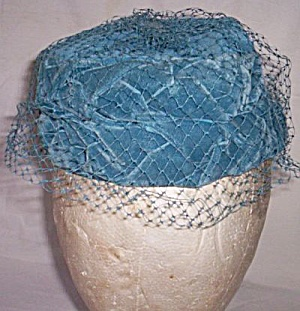 Vintage Blue Velvet Pill Box Hat