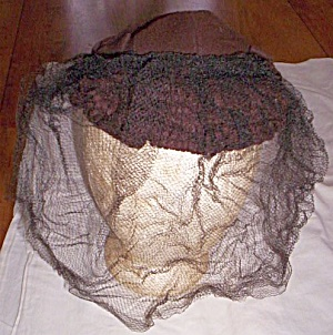 40's Brown Lady's Wool Hat W/ Face Net