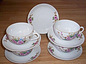 4 Occupied Japan Cups And Saucers Roses