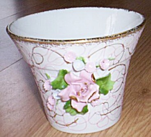 Lefton Flower Pot Applied Rose