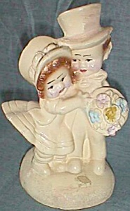 Vintage Chalkware Bookend Children Married Couple