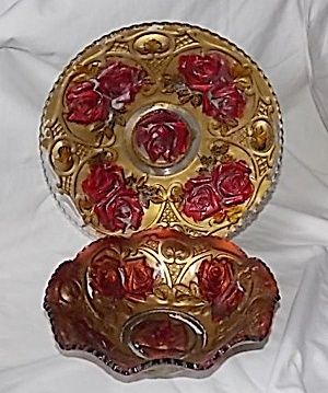 Stunning Double Rose Goofus Glass Underplate And Bowl