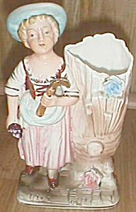 Porcelain Figural Bud Vase Lady By A Tree