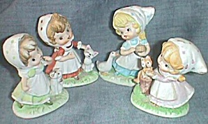 4 Tiny Homco Girls W/ Pets Figurines