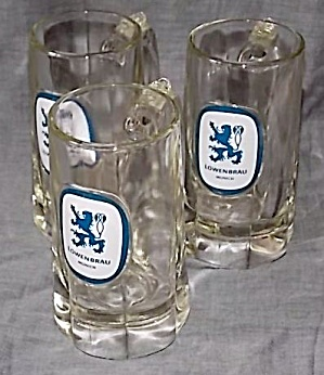 3 Lowenbrau 10 Oz Beer Mugs