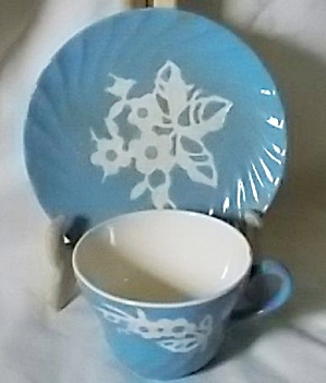 Harker Pottery Cup & Saucer Cameo Ware Dainty Flowers