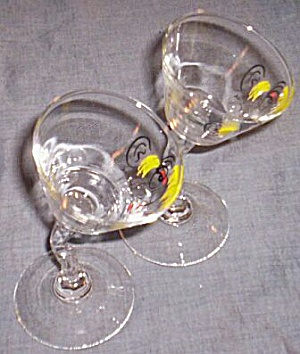 Pair Gay Fad Tipsy Martini Glasses