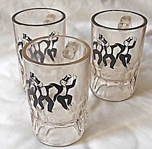 3 Heavy Hazel Atlas Beer Mugs Dancing Top Hats