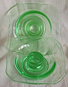 Pair Us Glass Uranium Candle Holders