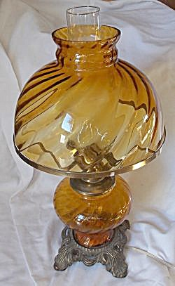 Vintage Amber Glass Electric Table Lamp