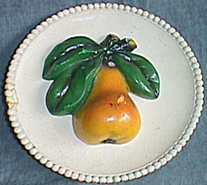 Very Old Chalkware Pie Plate With A Pear In The Center