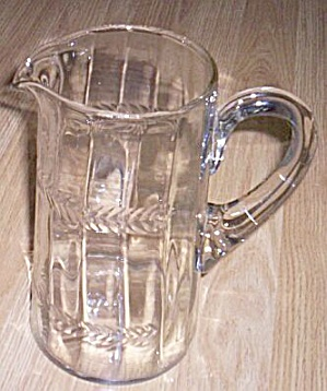 Antique Pitcher Paneled Sides Laurel Pattern