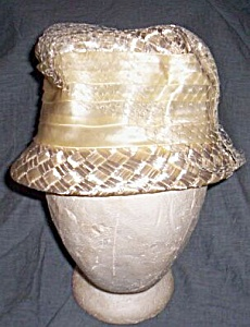 Vintage Lady's Straw And Satin Bow Hat Free Shipping